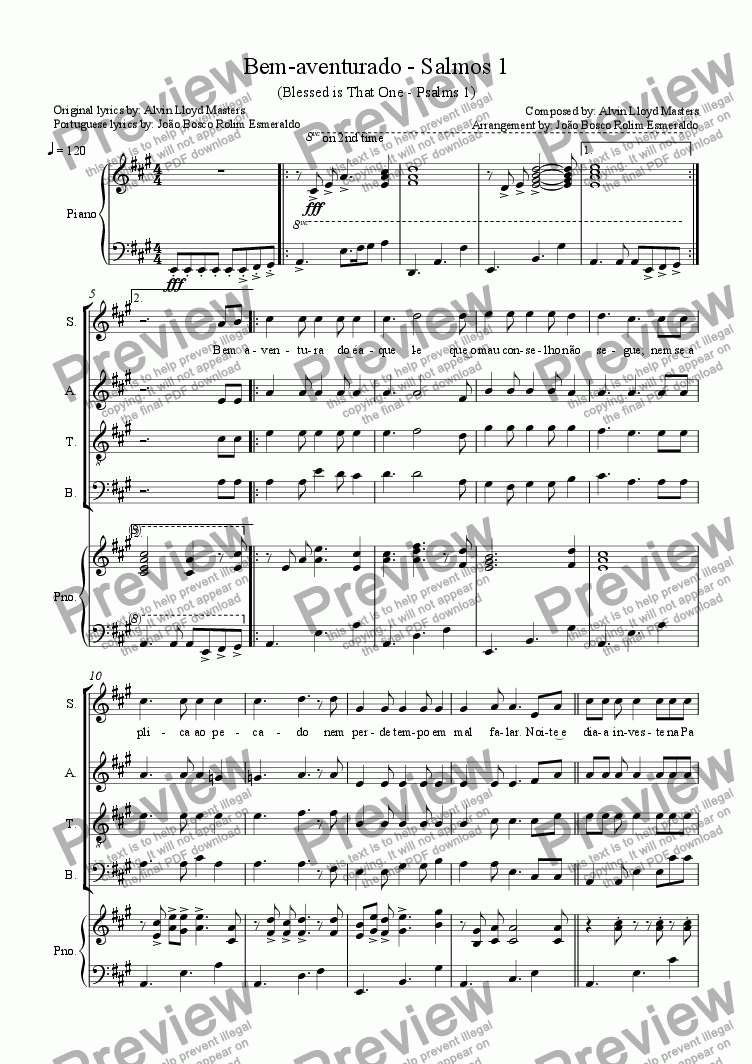 page one of 25- Bem-aventurado  - Salmos 1 - in A - Coral (SATB) e Piano (Original by Alvin Lloyd Masters)