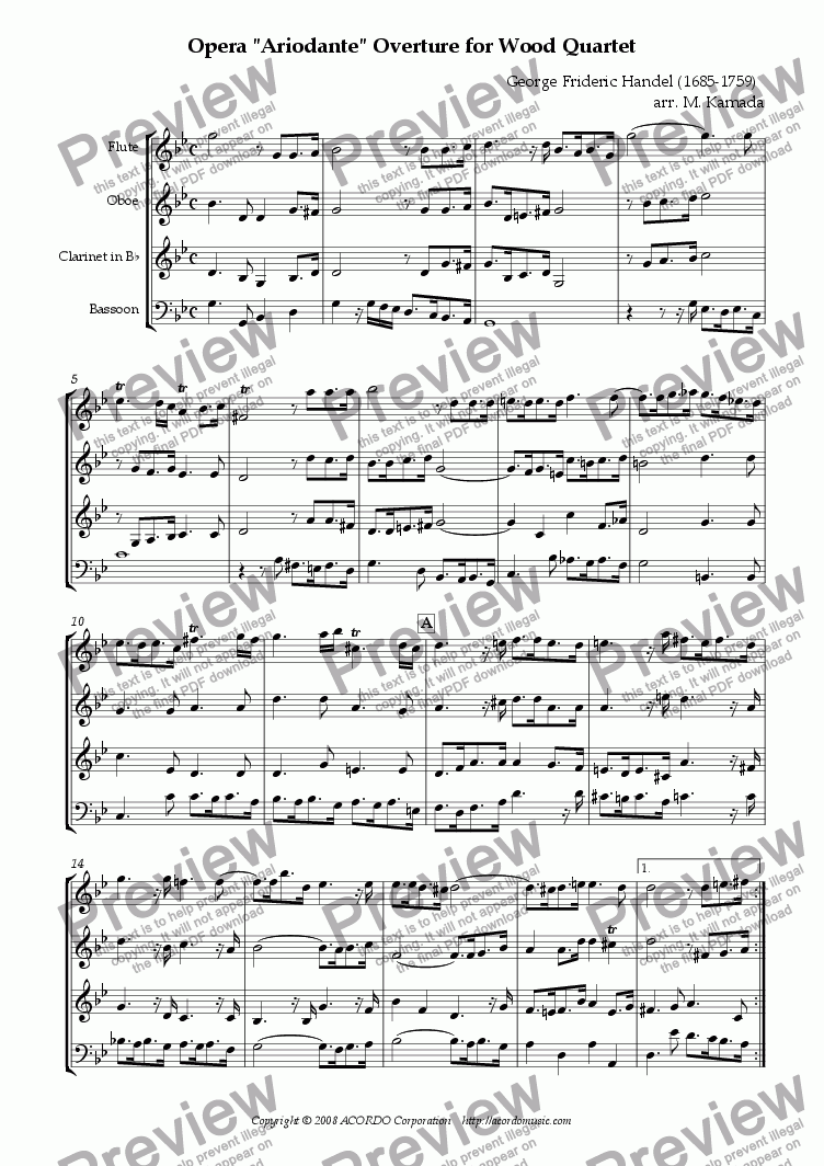"page one of Opera ""Ariodante"" HWV.33 Overture for Wood Quartet"