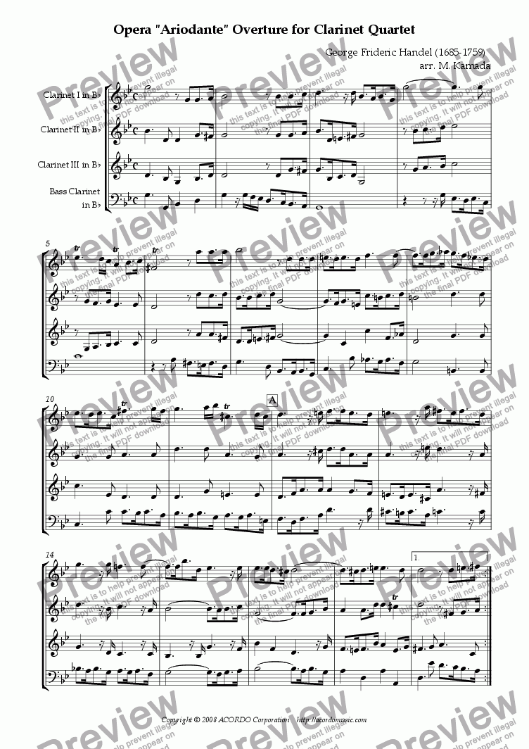 "page one of Opera ""Ariodante"" HWV.33 Overture for Clarinet Quartet"