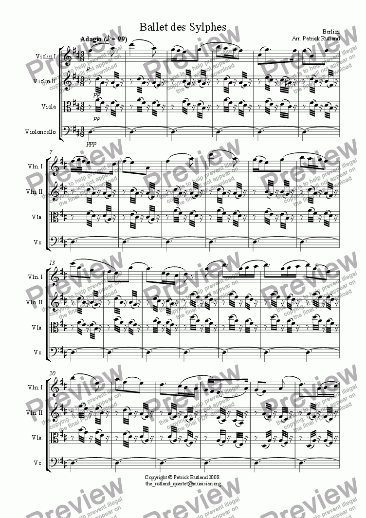 page one of Ballet des Sylphes from La damnation de Faust