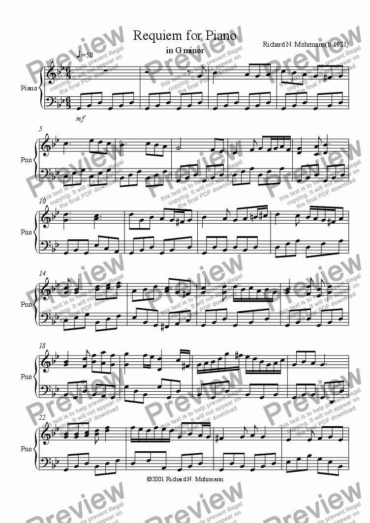 page one of Requiem for Piano in G minor