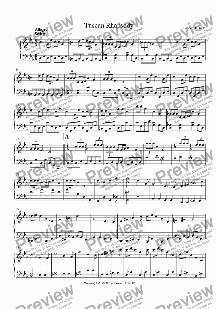 page one of Tuscan Rhapsody