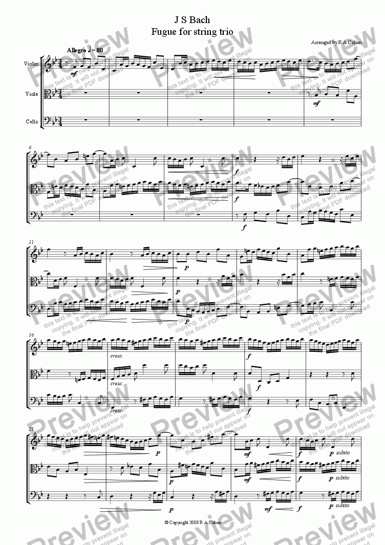 page one of Bach - FUGUE for string trio