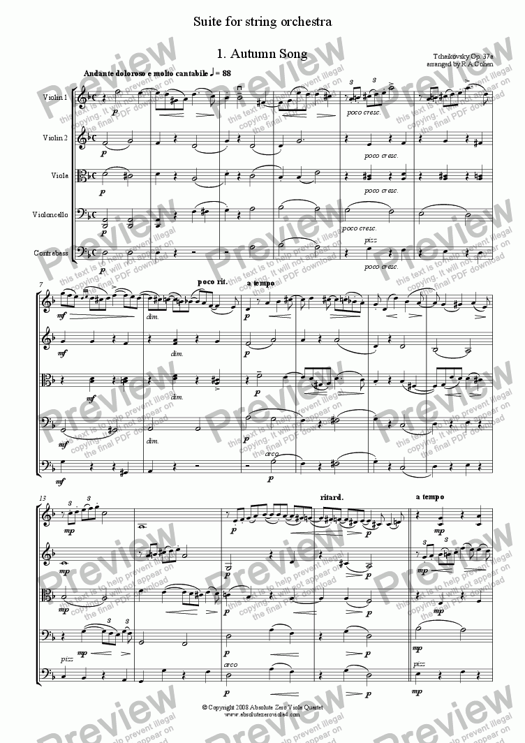 page one of Tchaikovsky - SUITE - for string orchestra