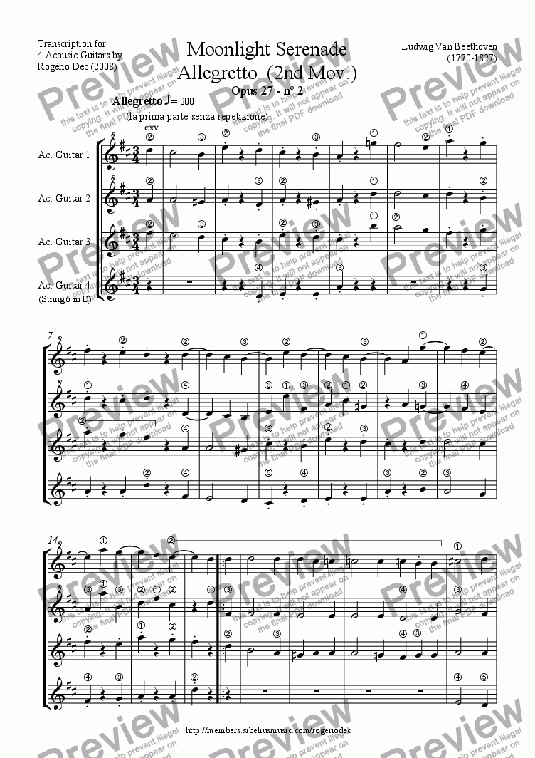 page one of Beethoven - Moonlight Serenade - Allegretto (2nd Mov.) - Guitar QUARTET