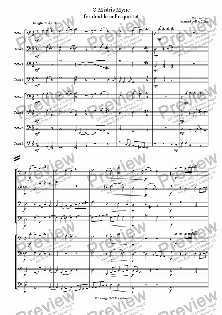page one of Byrd - O MISTRIS MYNE - for double cello quartet