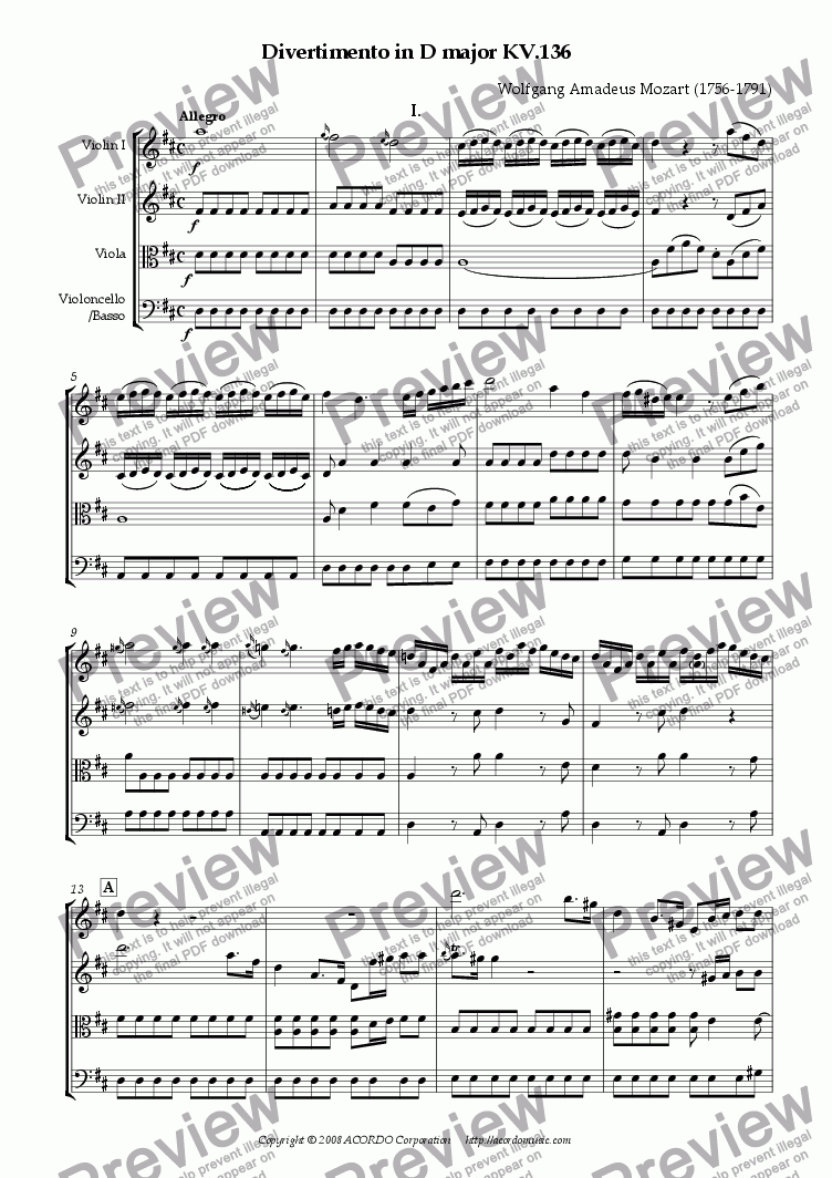 page one of Divertimento in D major KV.136ASALTTEXT