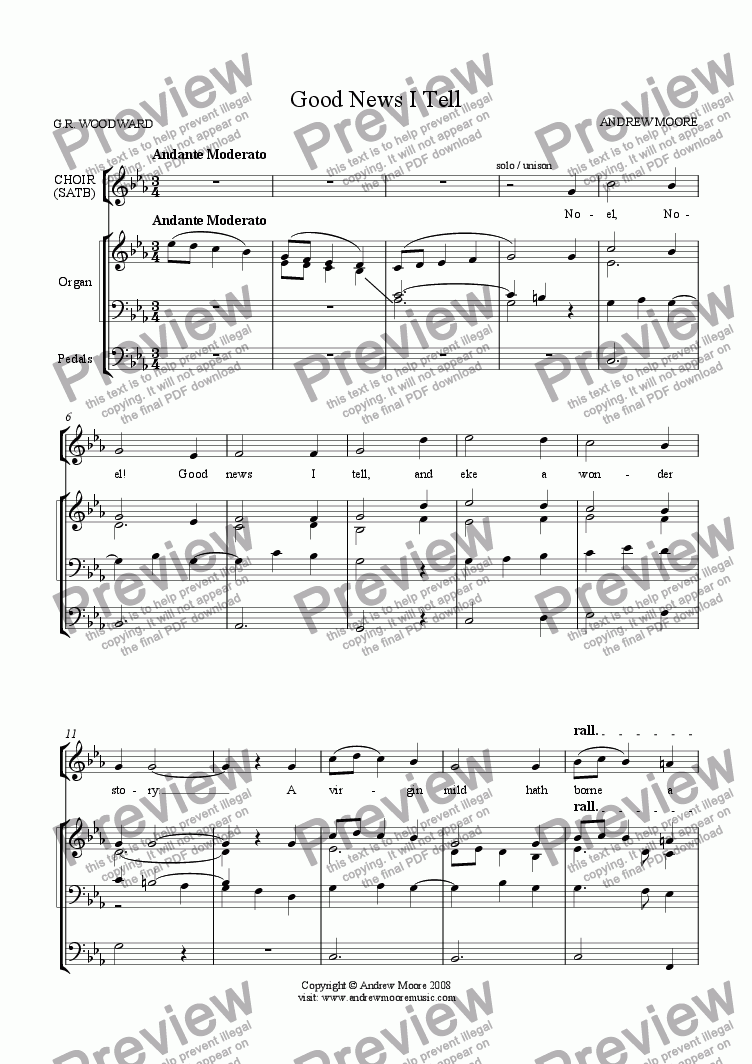 page one of 'Good News I Tell' for SATB & Organ
