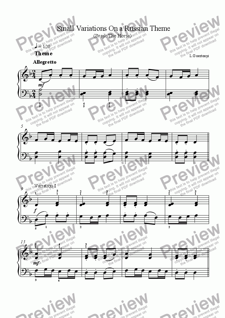 page one of Svejk, Variations on a Russian Folk Song, (Piano Solo)