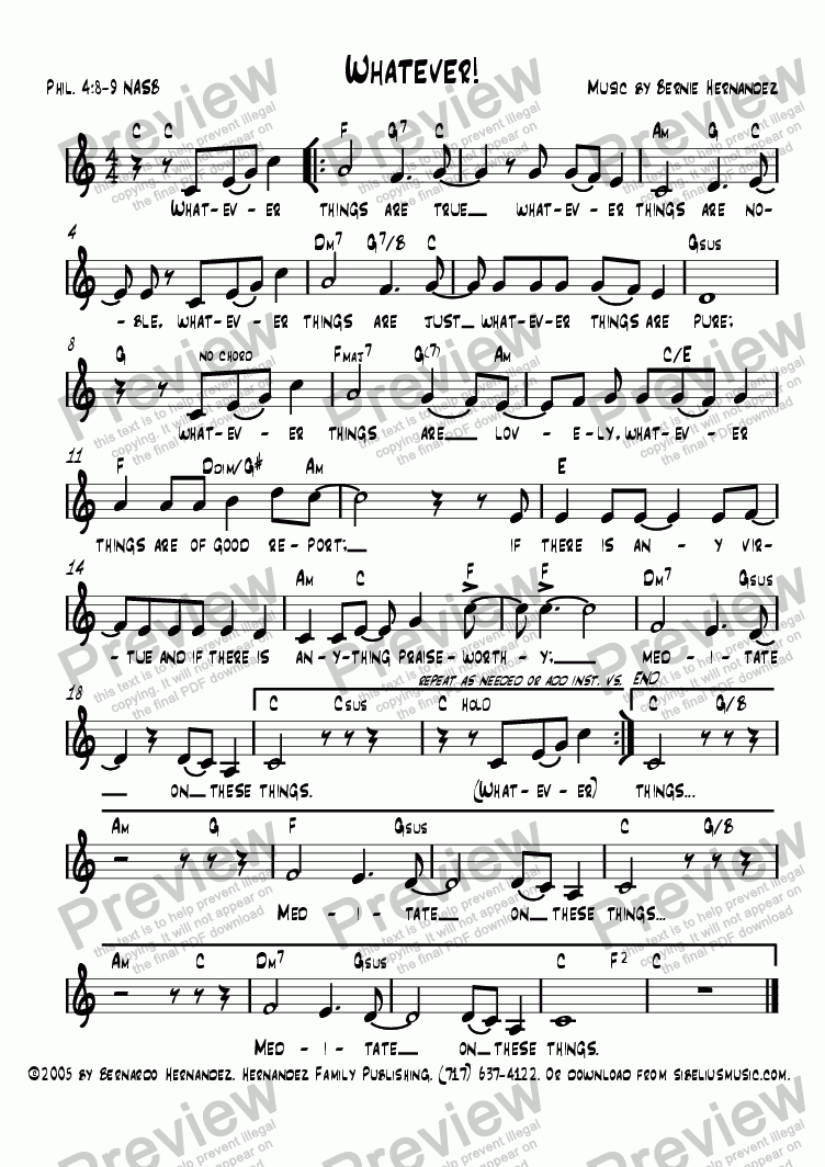 Scripture Memory Song - Whatever! (Phil  4:8-9) for Voice + guitar by  Bernardo Hernandez - Sheet Music PDF file to download