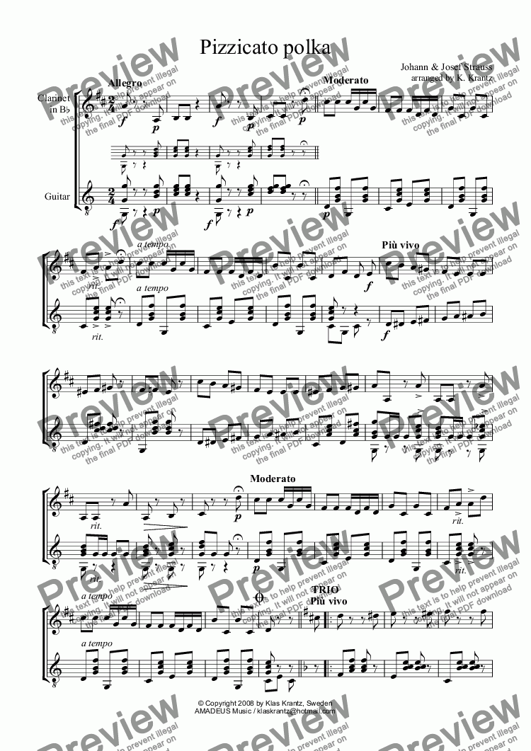 page one of Pizzicato polka for clarinet in Bb and guitar