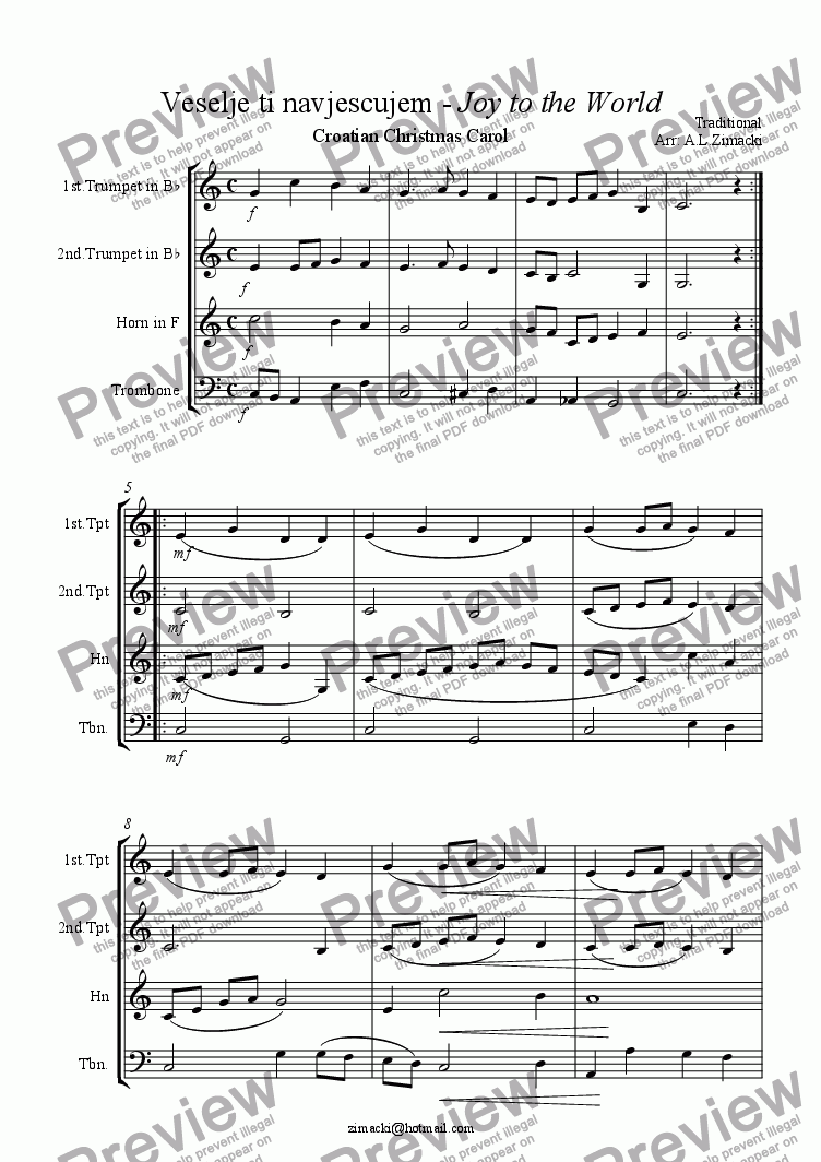 page one of Joy to the World (Croatian Christmas Carol)