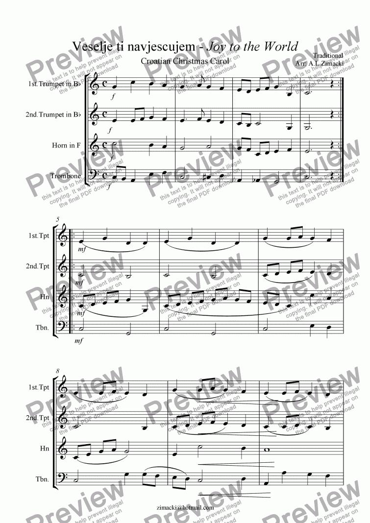 Joy to the World (Croatian Christmas Carol) - Download Sheet Music PDF