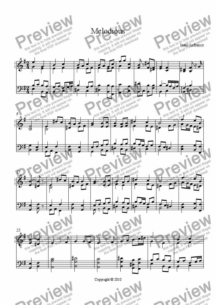 page one of Melodious