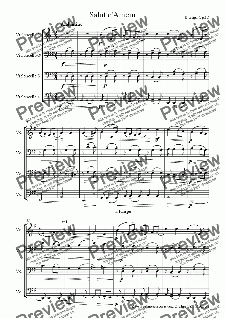 page one of Elgar Salut d'Amour for Cello Quartet
