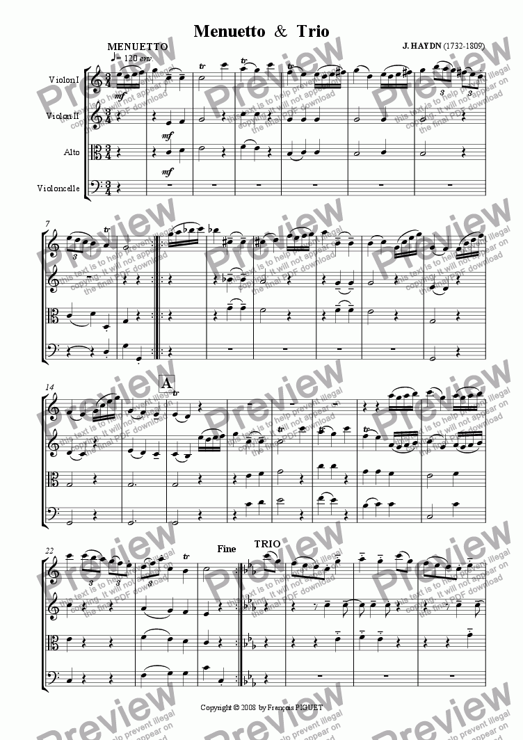 page one of J. HAYDN: Menuetto & Trio (excerpt from Piano Sonata N� 14 Hob. XVI/3) arranged for String Quartet