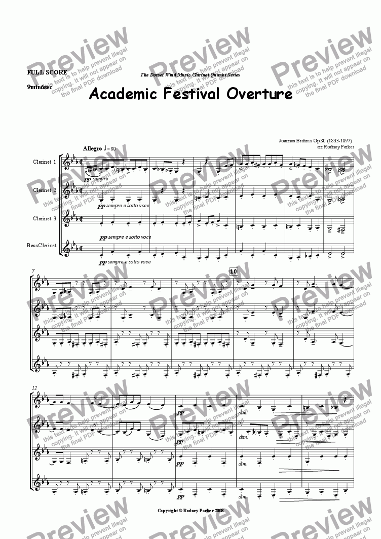 page one of Academic Festival Overture arr for Clarinet Quartet