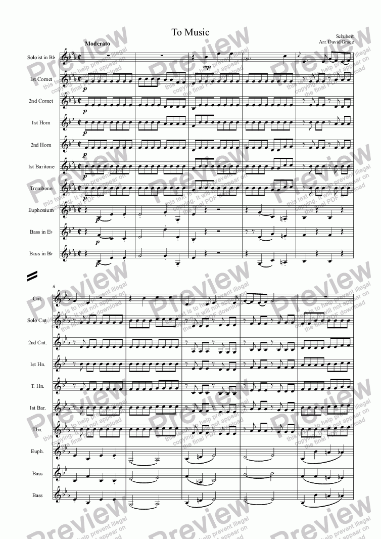 page one of To Music[Schubert] [Solo Cornet and Band]