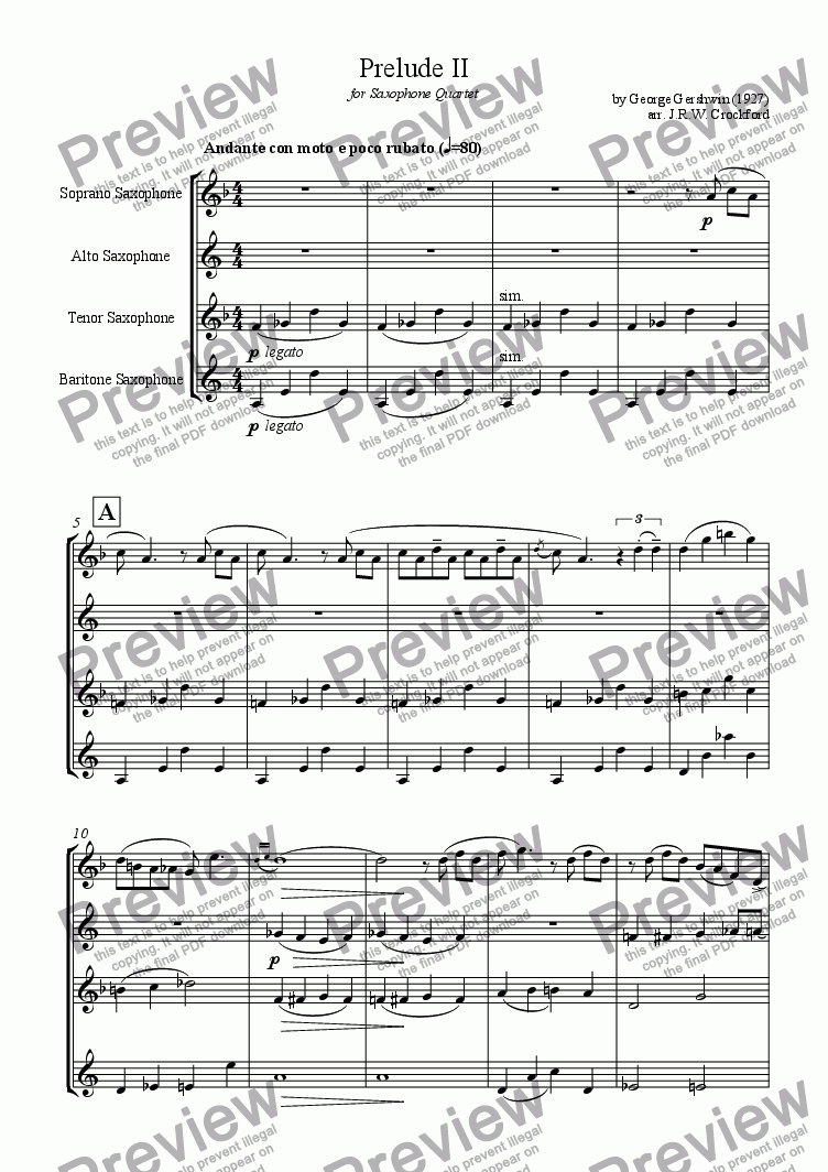 page one of Prelude II (from Three Preludes) for Saxophone Quartet