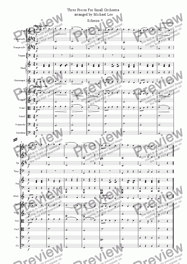page one of Three Pieces For Small Orchestra