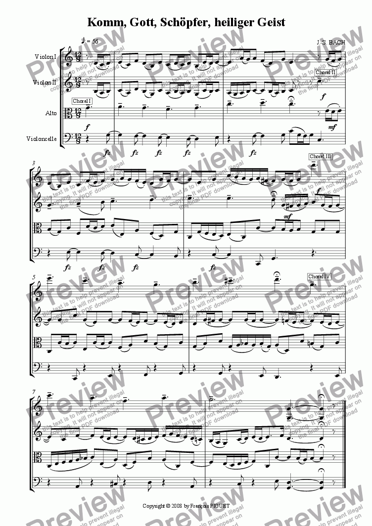 "page one of J.-S. BACH: ""Komm, Gott, Sch�pfer, heiliger Geist"" Chorale for organ arranged for String Quartet by Fran�ois PIGUET"