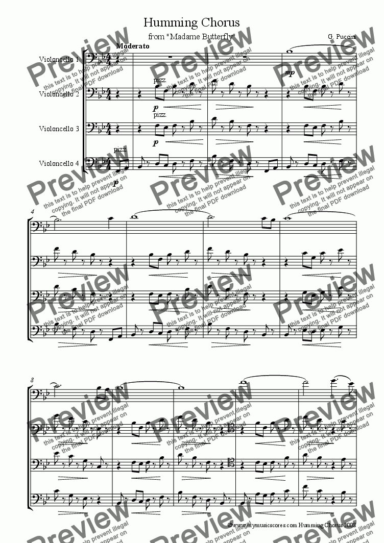 page one of Puccini Humming Chorus for Cello Quartet