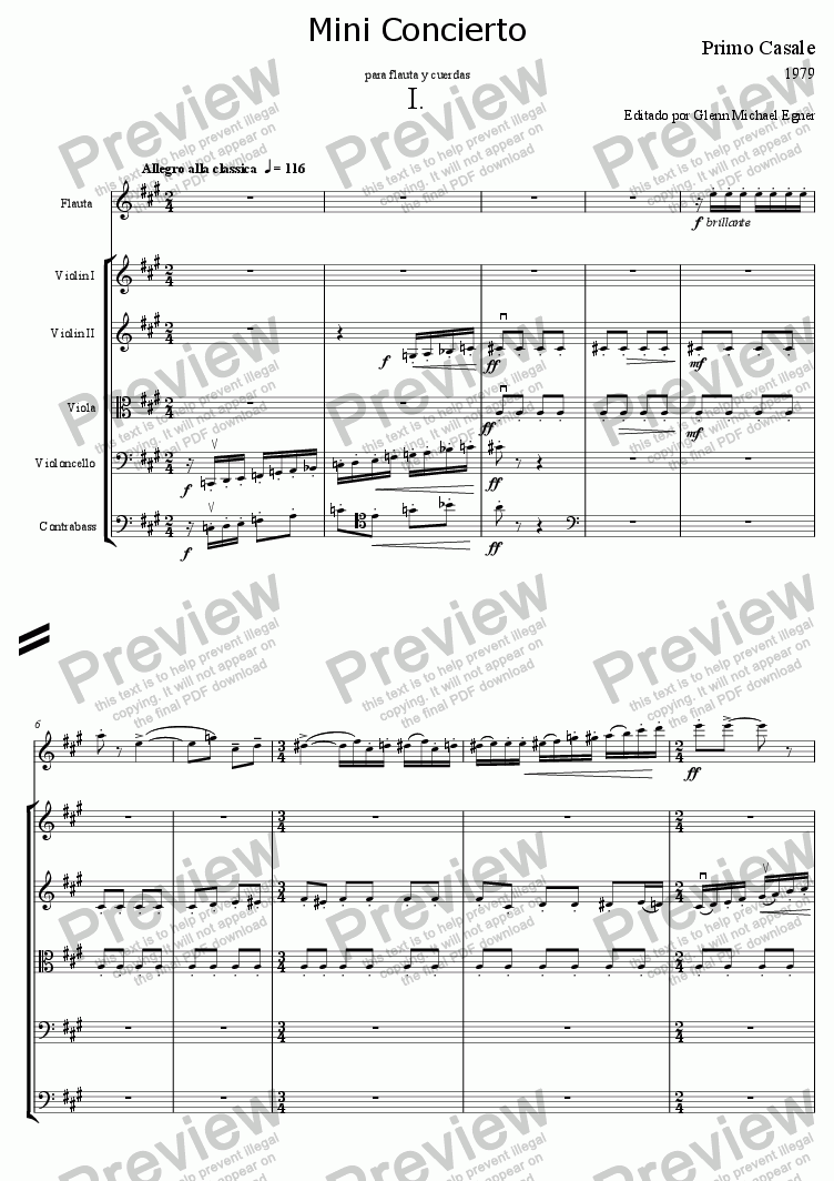 page one of Casale, Concerto for Flute & StringsASALTTEXT