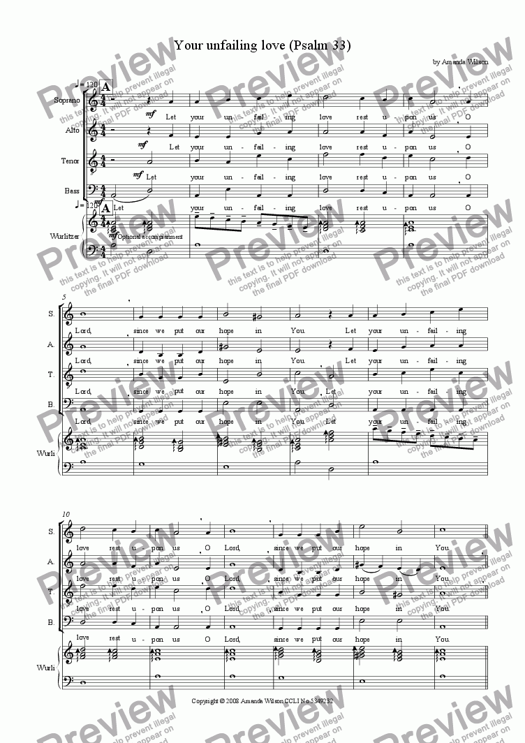 page one of Your Unfailing Love (Psalm 33) (SATB)