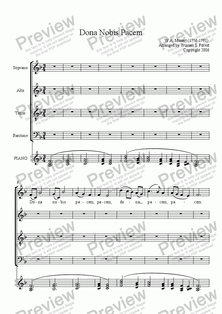 page one of Dona Nobis Pacem