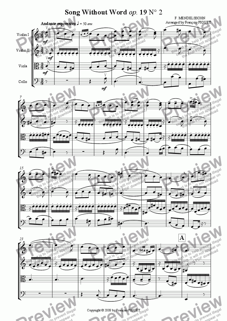 page one of F. Mendelssohn: Song Without Words op.19 N� 2 arranged for String Quartet