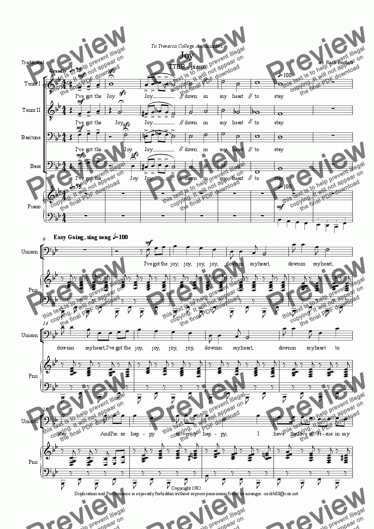 (I've got the) Joy - TTBB and piano for Choir + keyboard by Rick Bartlett -  Sheet Music PDF file to download