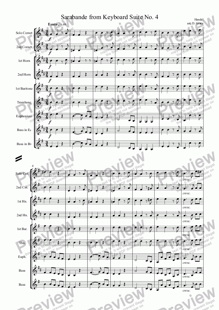 page one of Sarabande from Keyboard Suite No. 4