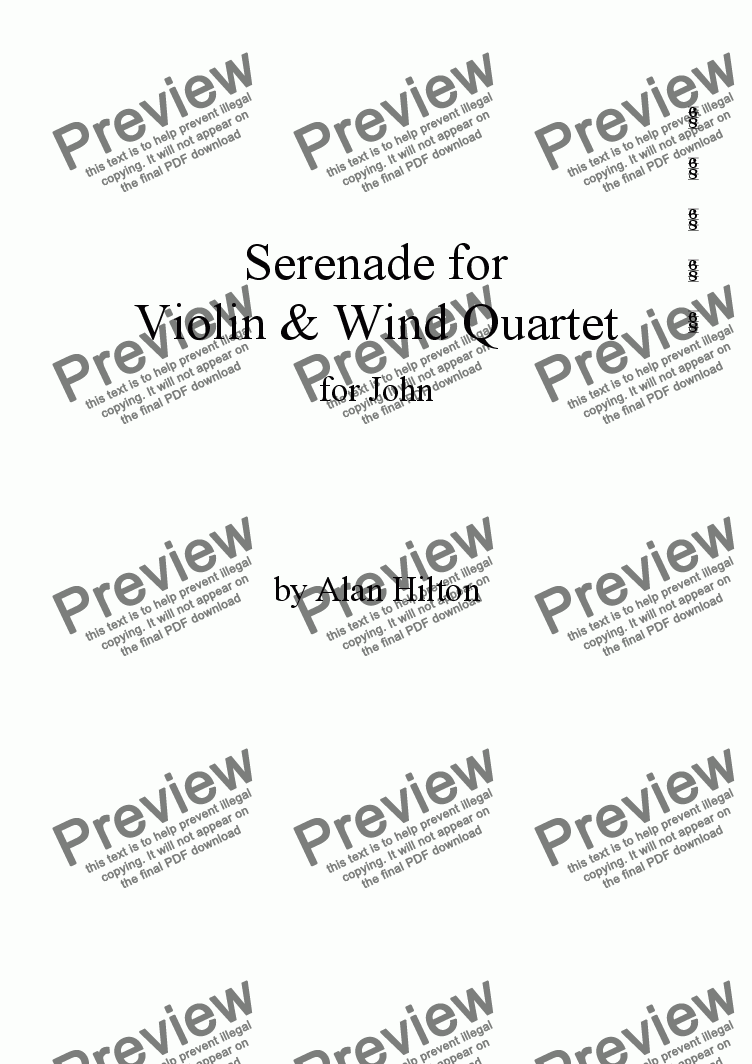 page one of Serenade for Vln & W.Quartet