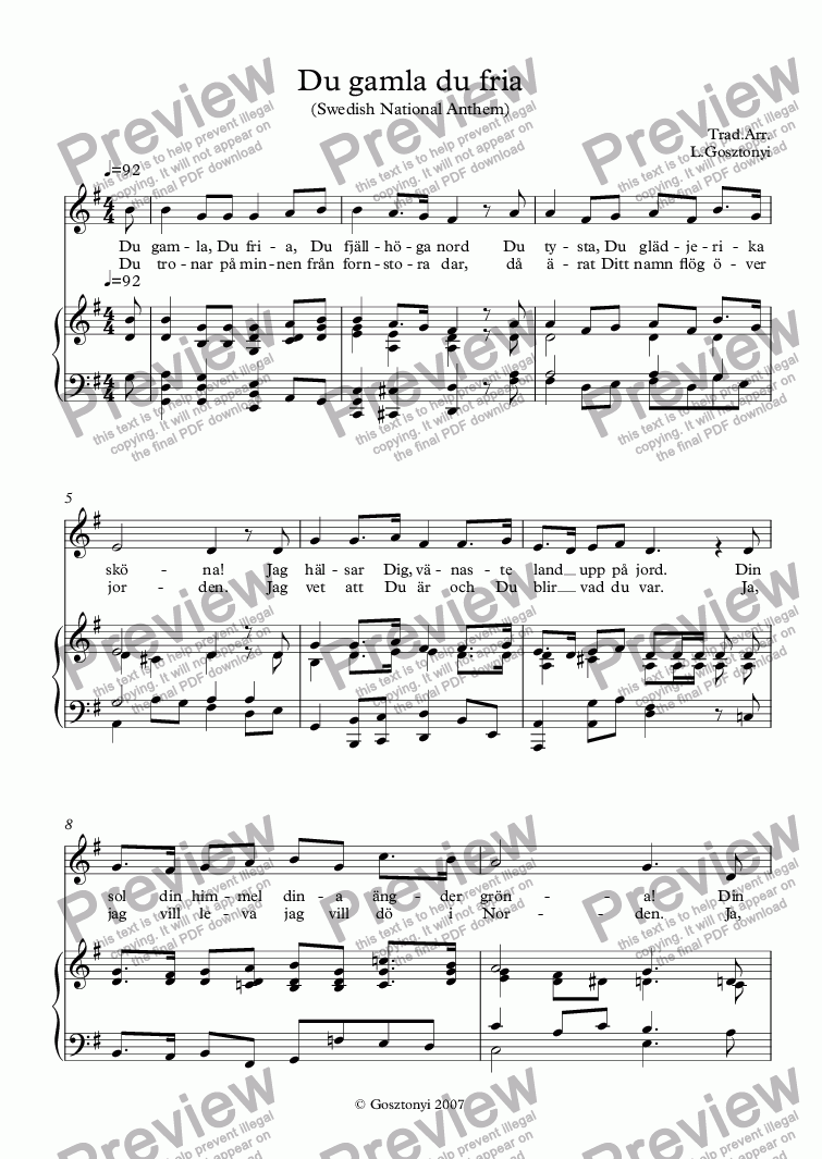 page one of Swedish National Anthem, Du gamla du fria, (Vocal & Piano)