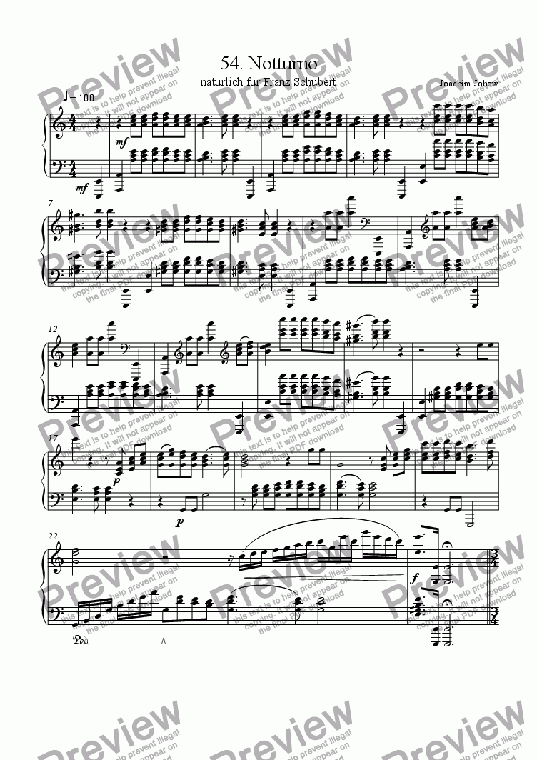 page one of Piano Book 054 (Notturno for Schubert)