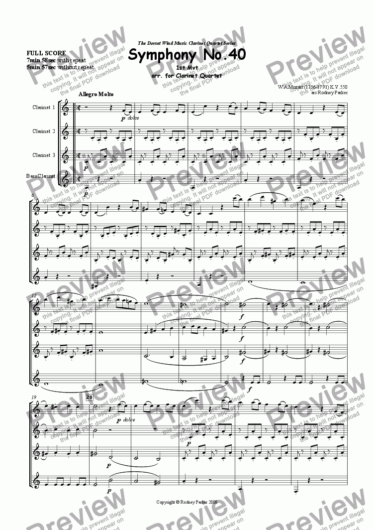 1st Mvt Symphony No 40 W A Mozart arr  for Clarinet Quartet for Quartet of  Clarinets in Bb by W A Mozart - Sheet Music PDF file to download