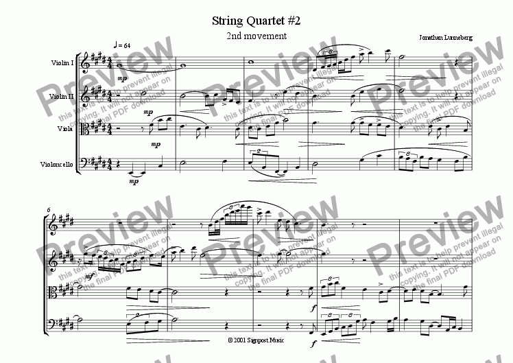 page one of String Quartet #2 - 2nd mvt.
