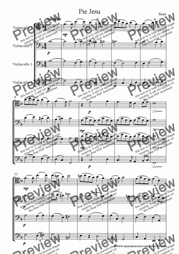 page one of Faure Pie Jesu Cello Quartet