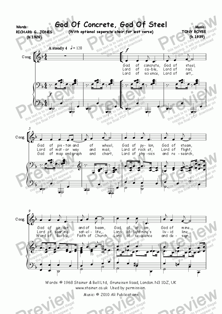 page one of Hymn Tune: God Of Concrete, God Of Steel