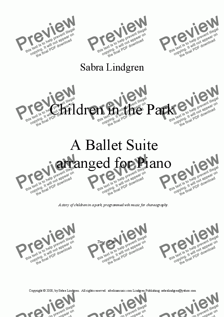 page one of Children in the Park Ballet Suite, Arranged for Piano