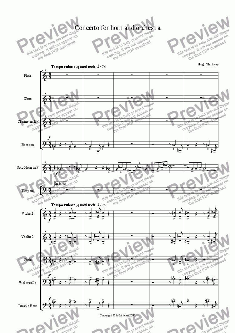page one of Concerto for Horn and Orchestra