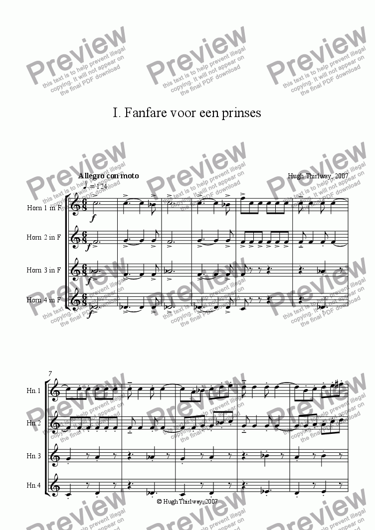 page one of Fanfare and Berceuse for a Princess