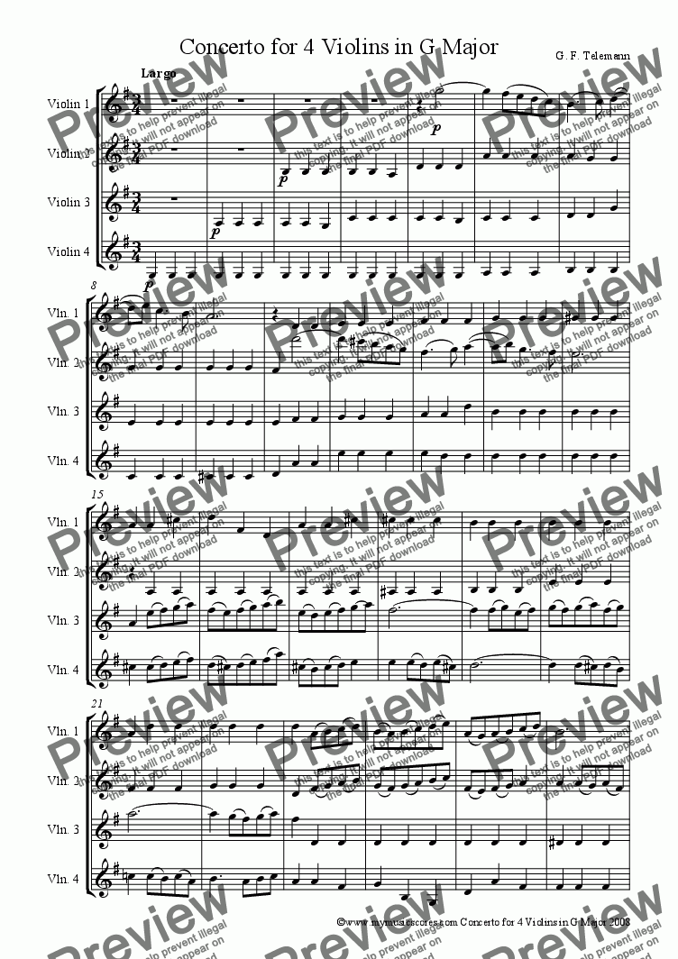 page one of Telemann Concerto for 4 Violins in G Major