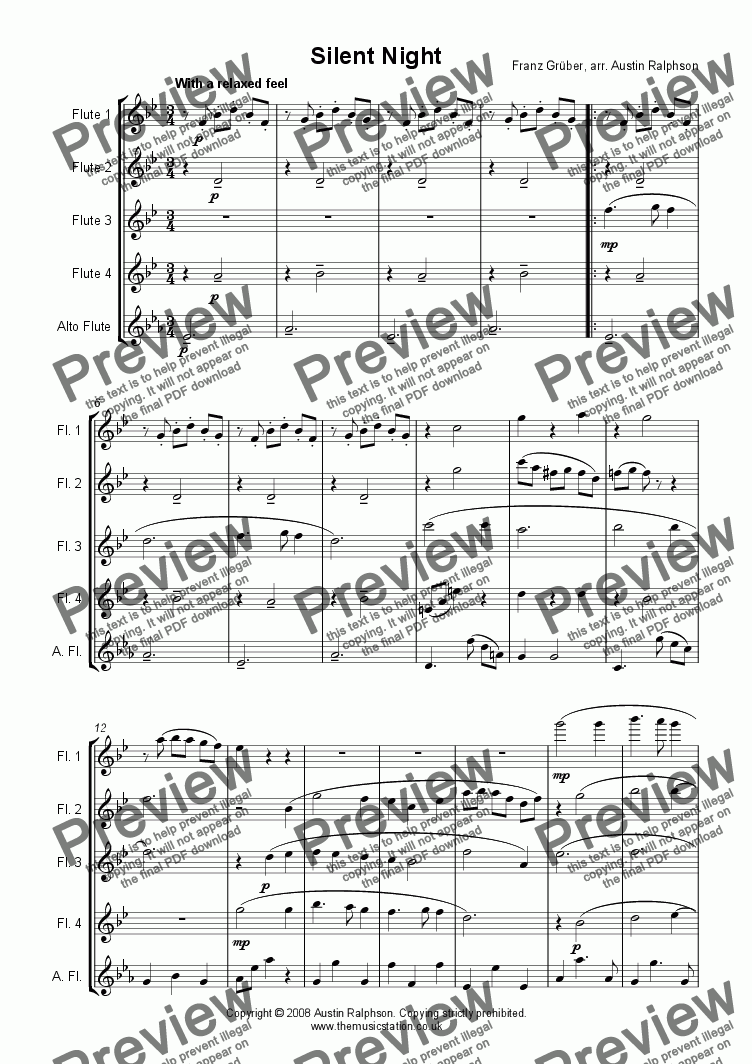 page one of Silent Night - flute quintet