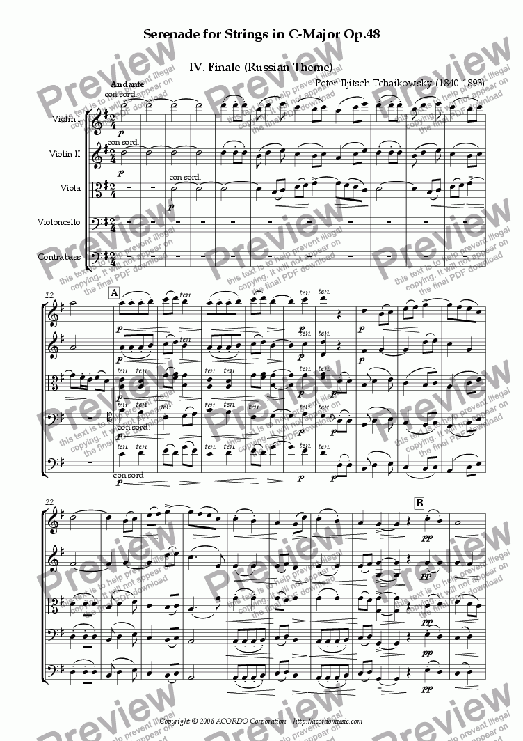 page one of Serenade for Strings in C-Major Op.48 IV. Finale (Russian Theme)