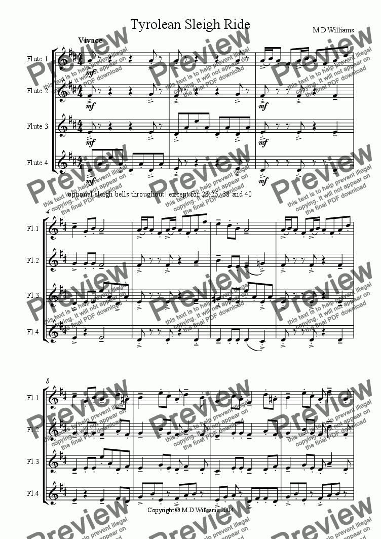 page one of Christmas Flutes: Tyrolean Sleigh Ride
