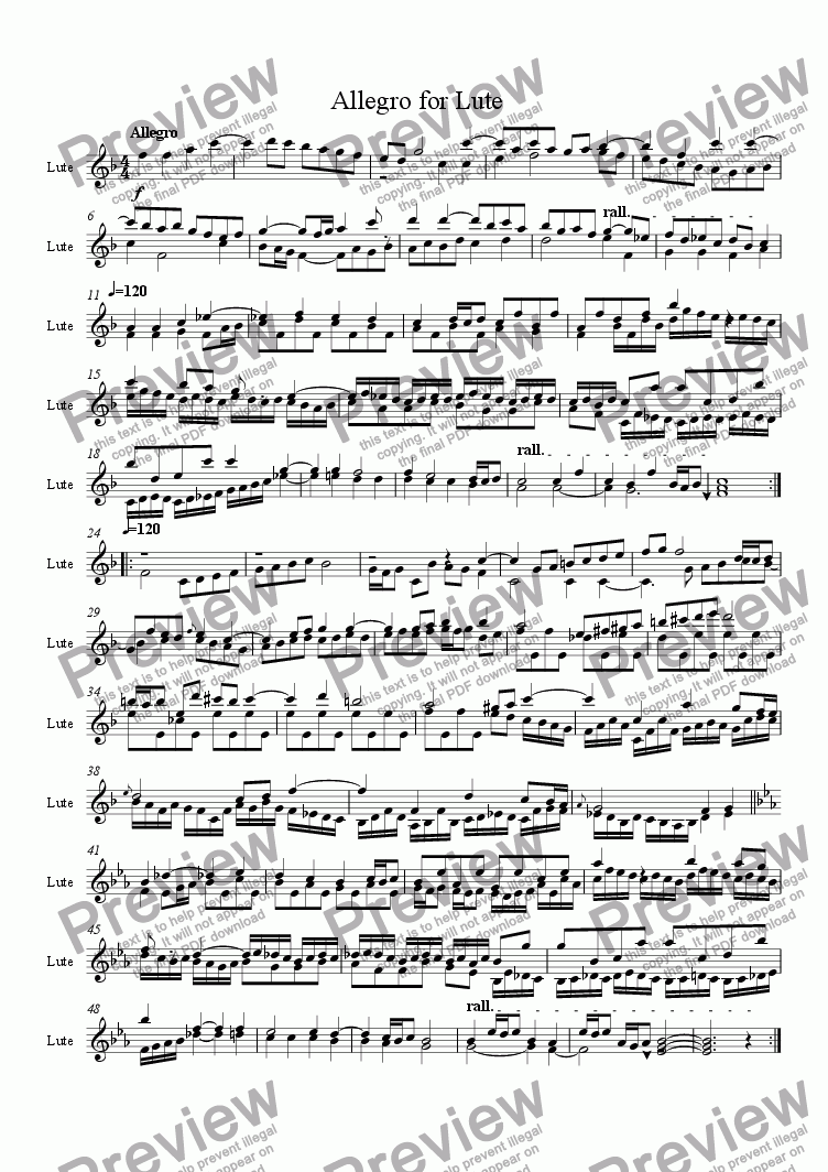 page one of Allegro for Lute