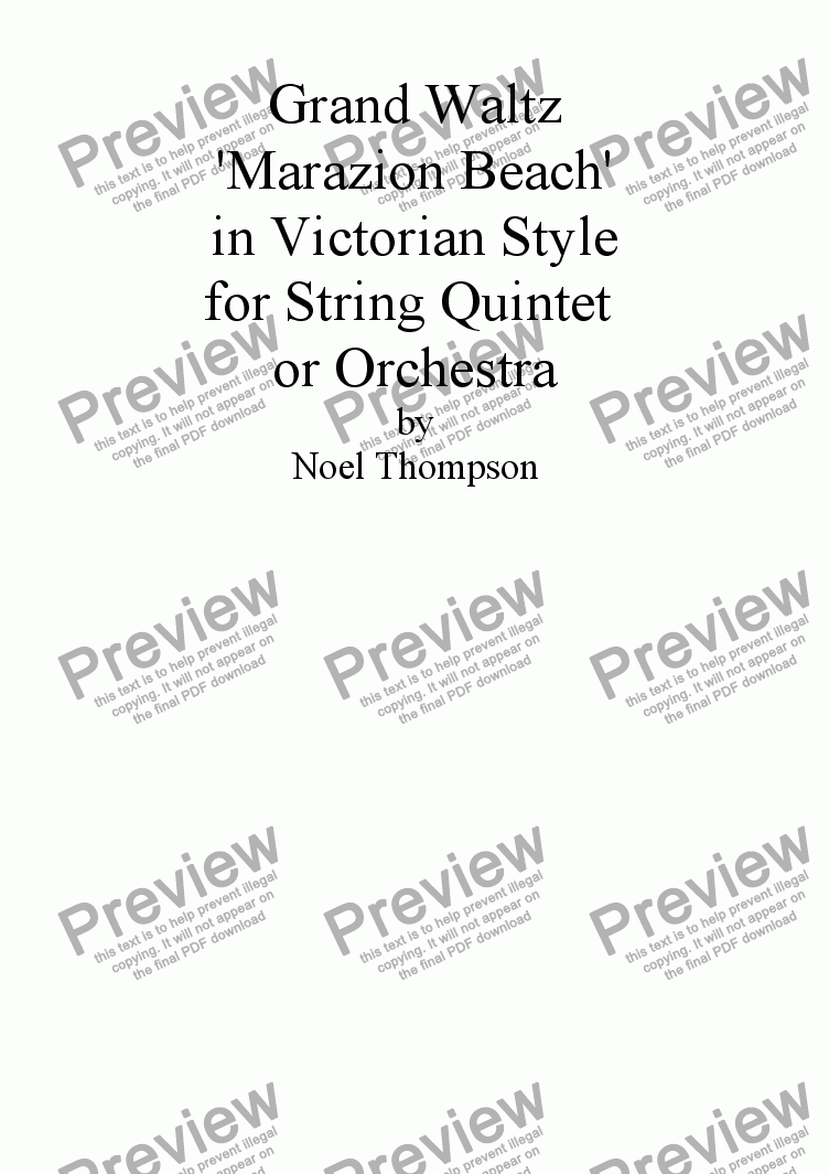 page one of Grand Waltz in Victorian Style for String Orchestra orQuintet