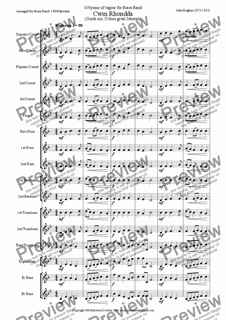 page one of 6 vigorous hymns (brass band)