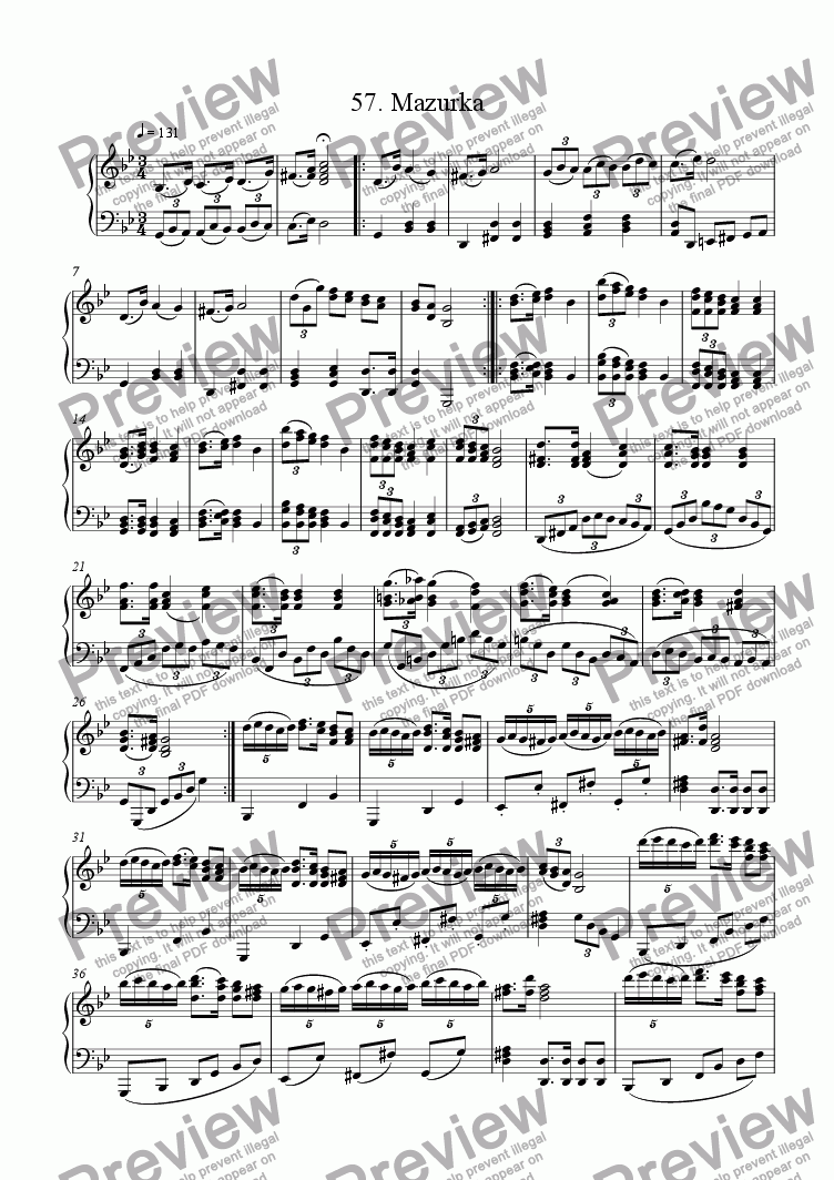 page one of Piano Book 057 (Mazurka)